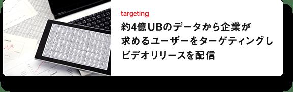 targeting 約4億UBのデータから企業が求めるユーザーをターゲティングしビデオリリースを配信